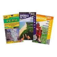Kit 3 Mapas Dobráveis - Perú, América Do Sul E Bolívia