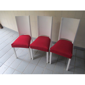 Seis Cadeiras Usadas Estofadas Laqueadas Para Mesa De Jantar