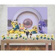 Kit Painel Poli Banner + Displays Festa Minions