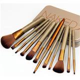 Set Brochas De Maquillaje Naked 3 Estuche Metálico X 12pzas
