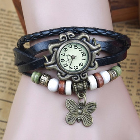 Relógio Pulseira Feminino Vintage Couro Pingente Borboleta
