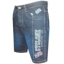 Bermuda Jeans Cyclone Bordada Azul Escuro Pronta Entrega