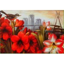 Quadro Painel Pintura Óleo Flores Hibiscos Vermelhos Passaro