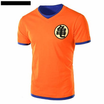 Playera Goku Dragon Ball M L Y Xl Naranja Con Vivos Azules
