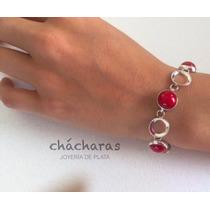 Envío Gratis Pulsera Maleny Coral Rojo Natural Y Plata .925