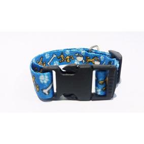 Coleira Azul Com Desenho Para Cachorro - Furacão Pet
