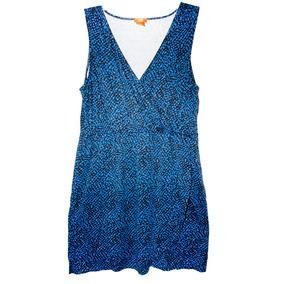 Vestido Corto Azul Con Puntos Negros Xl Americano Nuevo