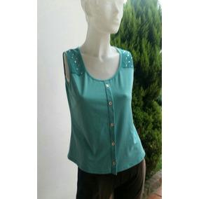 Remera Blusa Camisa T 40 S/m Algodón Y Gasa Tachas Verde