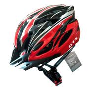 Capacete Vermelho In Mould Com Sinalizador Led Ciclismo Bike