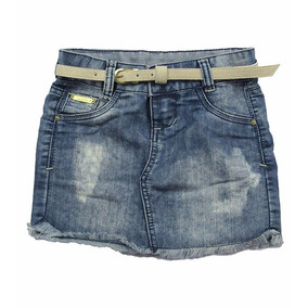 Saia Jeans Infantil Com Barra Desfiada E Cinto Crawling