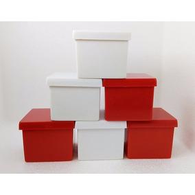 250 Caixinha Acrílica 4x4x3,3 Vermelha- Embalagem Pequena