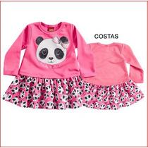 Vestido Infantil Bebe Moletom Manga Longa Panda Inverno Kyly