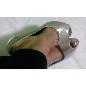 Zapatillas Andrea Boca De Pescado Plateadas Nueva Tacón 15cm