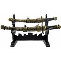 Espada Sabre Samurai Bainha Em Metal + Suporte Enfeite