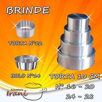 Forma Para Bolo Torta 10 Cm Em Alumínio Kit 4 Pçs + Brindes