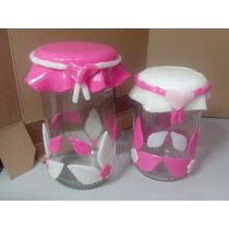 Jogo De 2 Potes De Vidro Decorados Com Biscuit