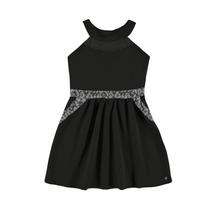 Vestido Menina Primavera Verão Com Paetê Na Cintura