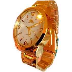 Relógio Quiksilver Dourado Ostentação Pulseira Ajustável