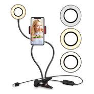 Aro Led Selfie Soporte Clip Para Celular 3 Modos De Luz Usb