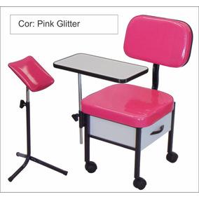 Cadeira Para Manicure Modelo S T + Suporte Tripé Pedicure