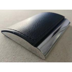 Porta Cartões De Visita Crédito Carteira Luxo Couro Aluminio