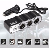 Adaptador Triple Auto 12v Y 24v Encendedor 3 Bocas + Usb