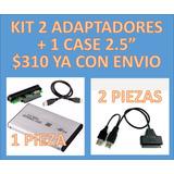 Kit 2 Adaptadors Sata A Usb 2.0 Y 1 Case Sata A Usb 2.0