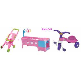 Kit Berço + Carrinho De Boneca + Triciclo Tico Magic Toys