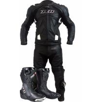 Macacão De Couro Motociclista X11 Speed + Bota Forza Speed