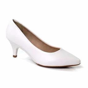 Sapato Feminino Scarpin Branco Noiva Enfermagem Salto Baixo