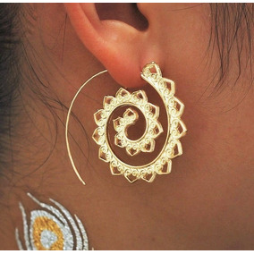 Brinco Médio Argola Espiral Esculpido Hippie Tribal Étnico