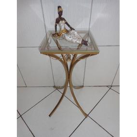 Aparador Mesa Canto Ferro 30cm Com Vidro Cor Ouro/ouro Velho