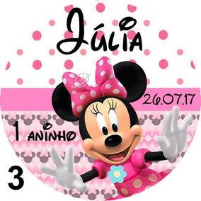 10 Unidades Tags Adesivo Minnie Rosa Tubetes Latinhas