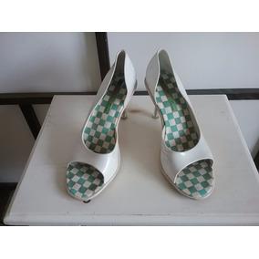 Zapatos Mujer Blancos Taco Acrílico