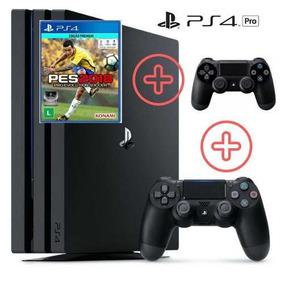Playstation 4 Pro 1tb Ps4 C/2 Controles + Pes 18 - Envio 24h
