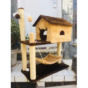 Arranhador Bege De Gato Casa Rede Brinquedo Bolinha Uma Uni