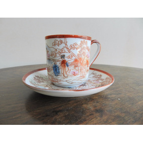 Taza De Café Antigua Porcelana Japonesa Pintada A Mano