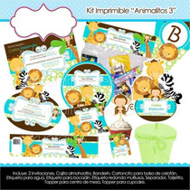 Kit Imprimible Invitación Baby Shower Animalitos León Cebra