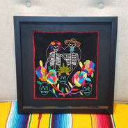 Quadro Decorativo Caveira Mexicana Casal Bordado A Mão Varal