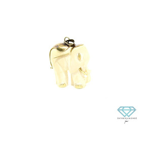 Dije De Marfil En Forma De Elefante Con Oro De 14k.