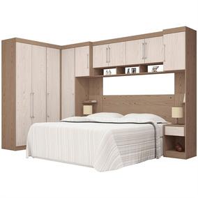 Dormitório Modulado Casal 7 Peças Demóbile C2 Castanho/avelã