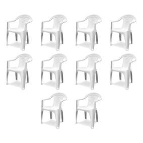 Kit Com 10 Cadeiras Poltronas Plástica Com Braço