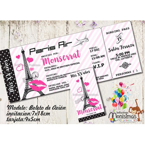 Invitaciones Paris Xv Años Baby Shower Imprimible