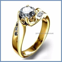 Anillo De Compromiso Diamante Natural .15ct Oro 18k -50% 047