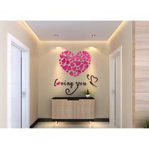 Adesivo Coração 3d Acrílico Decoração Parede Casa Sala Rosa