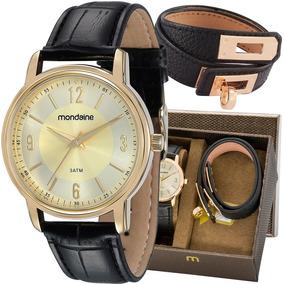 Kit Relógio Mondaine Feminino Com Pulseira 83278lpmvdh1k1