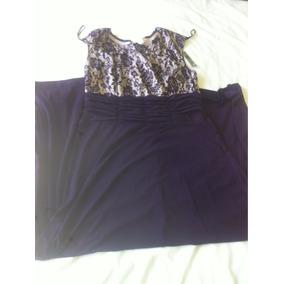 Vestido Largo Color Morado Con Encaje En Beige Talla M