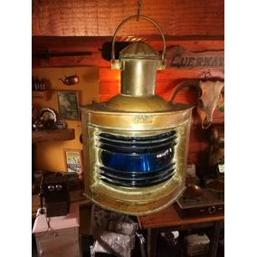 Farol De Barco Antiguo Vidrio Azul Bronce Cobre Completo