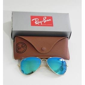 Ray Ban Aviador Azul Espelhado, Armação Dourada - Óculos no Mercado ... aebe5fd7b4