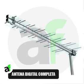 Kit Antena Externa Digital Completa 28 Elementos Com Mastro